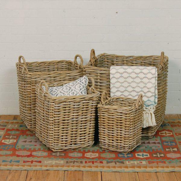 wicker square basket