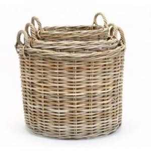 Round wicker basket set