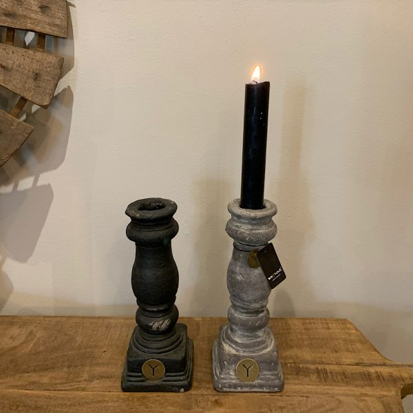 candle holder pottery brynxz grey and black