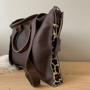 leather brown panther laptop purse