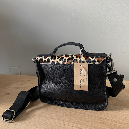clutch black leather panther