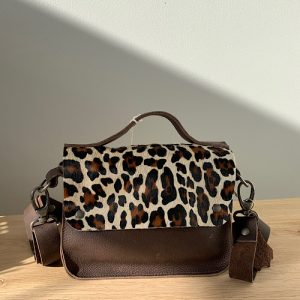 clutch brown leather panther