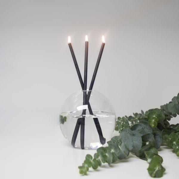 black candles in mother vase everlasting