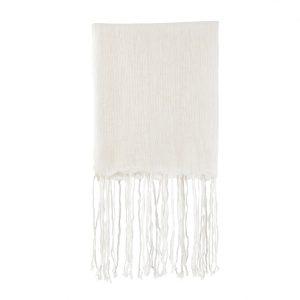 fringed linen throw white