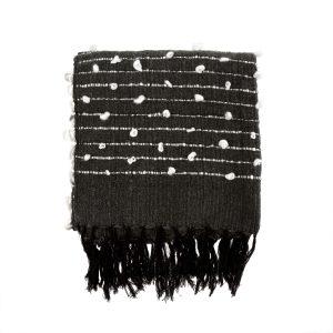 knot weave thrw black white