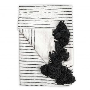 Moroccan pom sketched throw