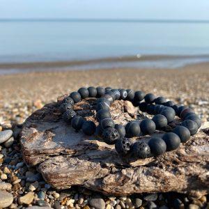 striped black agate bracelet