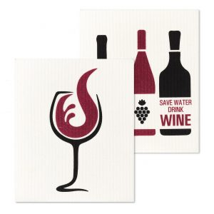 wine&bottles dish cloth