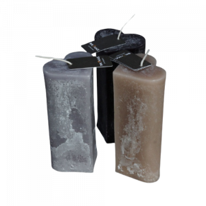 Candle Heart Tall Grey Taupe Black