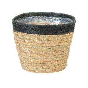 Straw Pot Black Rim 6