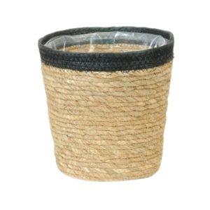 Straw Pot Black Rim 7.5