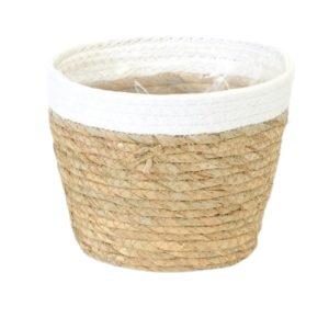 Straw Pot White Rim 6