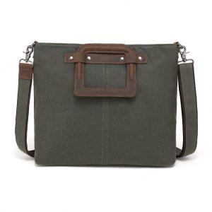 Waxed canvas Shoulder Bag Green 3