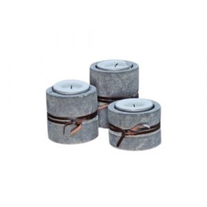 Set of 3 Candle Holder Leather