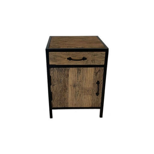 Wood and Steel Bedside Table 2