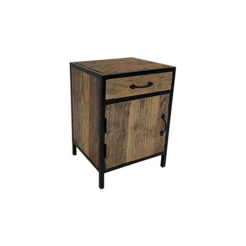 Wood and Steel Bedside Table 3
