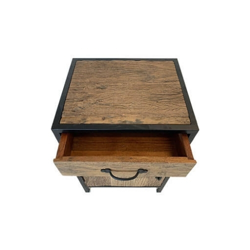 Wood and Steel Bedside Table 4
