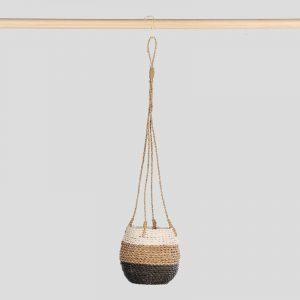 Hanging Pot Natural Black White